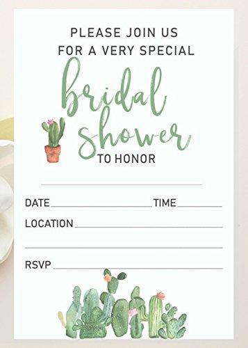 unique bridal shower invitations with envelopes 25 count 4x6 bridal shower invitations cactus rustic