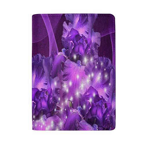 Passport Holder Purple Fantasy Butterfly Passport Cover Case Wallet Card Storage Organizer for Men Women Kids