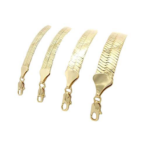Herringbone Yellow 14k Gold Plated 4 to14mm Wide 20