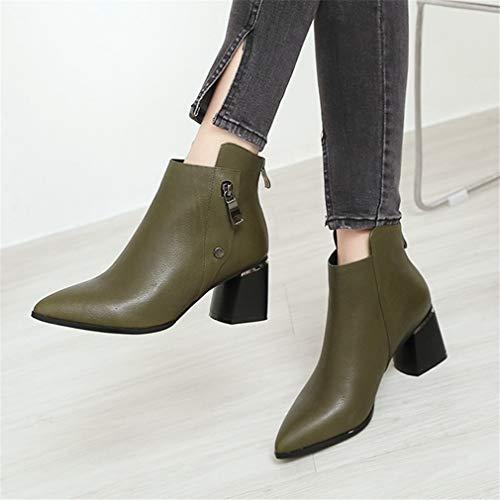 Yan Mujeres Otoño Segundo Áspero Zapatos Moda Botas Del Tobillo Cremallera Invierno Señoras Altos Europeo Las Vestir La De Tacones Cuero XFnFr4z1qw