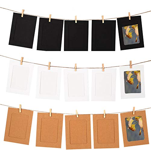 Frame Photo Diy (GooGou DIY Paper Photo Frame Wall Deco with Mini Clothespins and String Fits 4