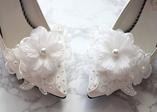 Wedding shoe clips, Organza shoe clips, Bridal shoe clips, Bridal shoe charms, Pearl Rhinestone shoe clips, Wedding shoes for bride