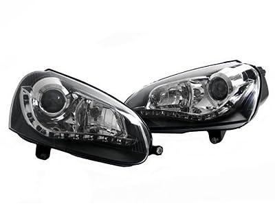 06-09 Vw Mk5 Rabbit/gti/jetta Ecode Black Depo S5 Led Bi-projector Headlights