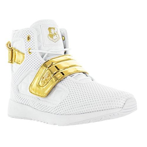 Vlado Fodtøj Mænds Atlas 2 Microfiber & Cordura Høj Top Burgandy / Hvide Sneakers Hvid / Guld v21YL87Kwn