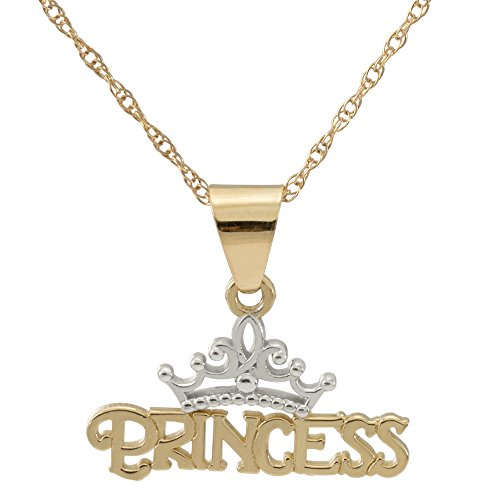 "Disney Princess Jewelry for Women and Girls, 14K Yellow Gold Princess Tiara Pendant Necklace, 16"" Chain"