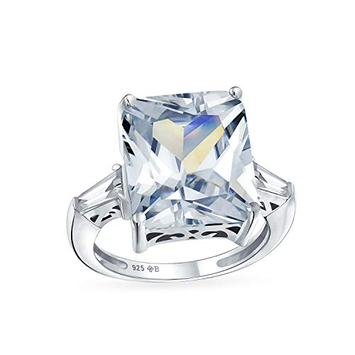 - Art Deco Style 925 Sterling Silver 7CT Rectangle AAA CZ Princess Cut Statement Engagement Ring Baguette Side Stones