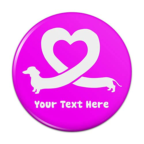 Personalized Custom 1 Line Dachshund Wiener Dog Love Heart Compact Pocket Purse Hand Cosmetic Makeup Mirror - 2.25