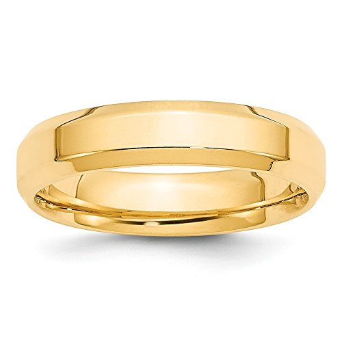 14k Yellow Gold 5mm Bevel Edge Comfort Fit Wedding Ring Band Size 6.5 Classic Beveled Fine Jewelry Gifts For Women For Her