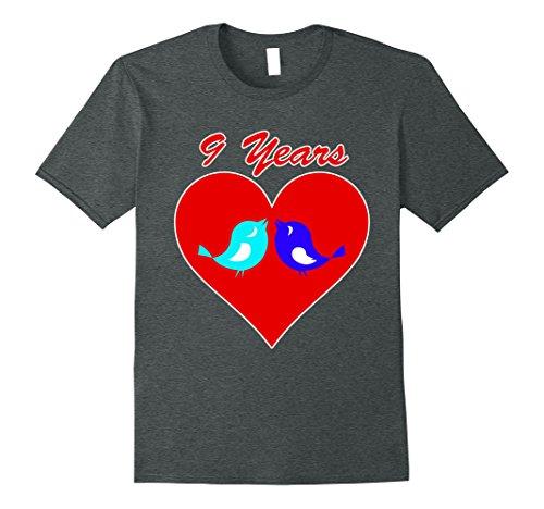 Mens 9th Wedding Anniversary Gift Present TShirt Love Birds Heart XL Dark Heather