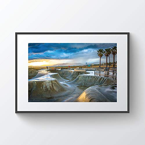 YourLoveLLC Wooden Frame The Venice Skate Park at Sunset in Venice Beach Los Angeles California Photo Print Metal Framed Black Wood Frame for Wall