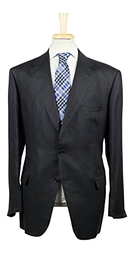 brioni Via Veneto Black Linen 3/2 Button Suit Size 58/48 R (Brioni Suit Linen)