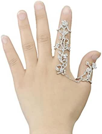 【【【Tenworld Lady Girl Cool Fashion Double Full Finger Knuckle Armor Ring Set Punk Rock Gothic Jewelry Gift New Any Size】】】