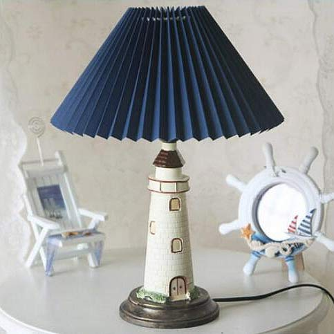 Kiven Nautical Lighthouse Table Lamp Large Cape Hatteras Desk Light with Cloth Shade (Blue)