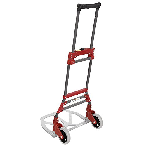 Kaluo Portable Folding Hand Truck, Heavy Duty 2-Wheel Utility Cart, 165lbs Capacity and Lightweight Fold Up Dolly with Rope for Travel, AUTO, Luggage, Shopping, Personal Moving (US STOCK) (Red) (Dolly Utility Folding)