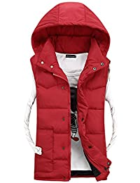 XFentech Mens Boys Down Vest Lightweight Down Winter Warm Vest Hooded Coat