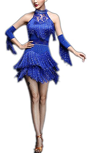 (Fringe Latin Rhythm Salsa Cha Cha Cha Dance Club Competition Outfit Dresses)