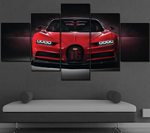 sansiwu X Canvas Wall Art Pictures Home Decor Living Room 5 Piece Bugatti Chiron Red Hypercar Painting Hd Printing Type Poster