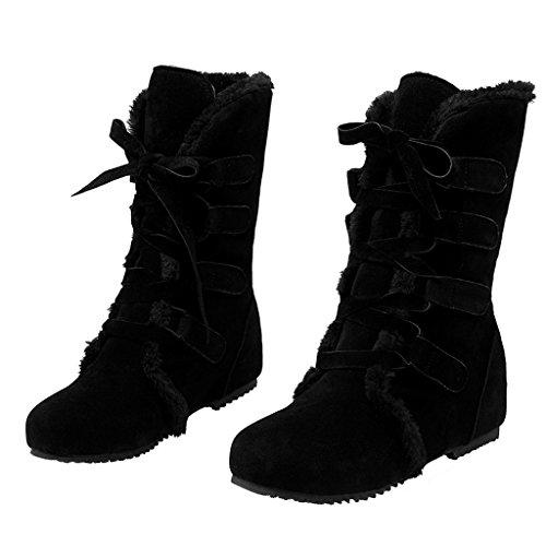 Eclimb Womens Lace-Up Flat Full Fur Warm Winter Snow Ankle Boots Black Hifero0J