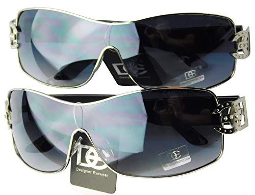 Designer Eyewear/Diamond Eyewear D1008-CC Designer/Diamond Eyewear Turbo Sunglasses (2-pack 18 Silver/Black (No Case), Large