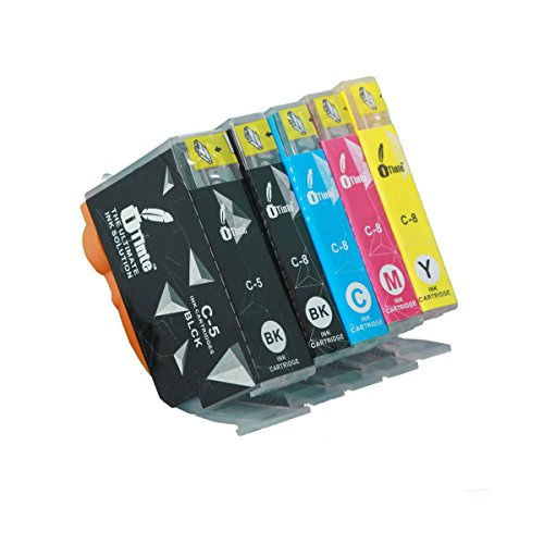 Price comparison product image iTinte Compatible Canon PGI 5 CLI 8 Ink Cartridges 5-Pack: PGI 5 (1 Black) CLI 8 (1 Black, 1 Cyan, 1 Magenta, 1 Yellow) for Canon Pixma iP4300, iP4500, iP5200