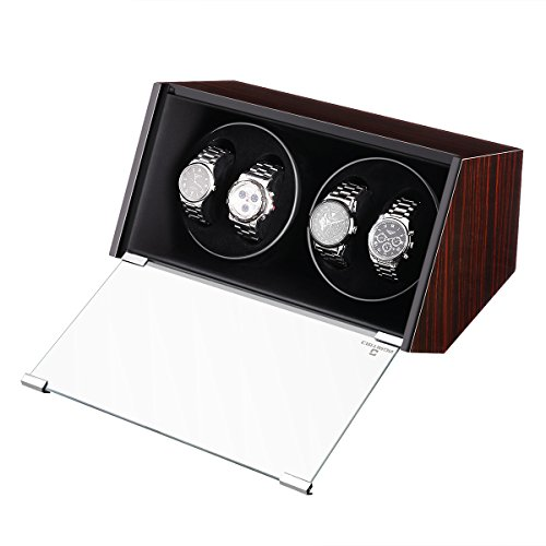 CRITIRON Automatic Single Watch Winder Case Rotating Watches Display Storage Box Black (4+0)