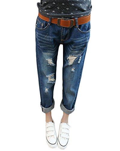 Trou Casual Denim Mode Casual Bleu Femmes Leggings Cropped Pantalon Jeans Jeans Extensible De Slim Fonc xpcd1wE