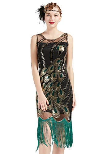 BABEYOND 20's Vintage Peacock Sequin Fringed Party Flapper Dress (XXL, Black with Green Fringe) from BABEYOND