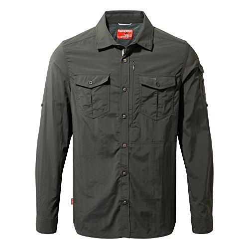Craghoppers Men's NosiLife Adventure Long-Sleeved Shirt, Black Pepper - (Button Up Long Sleeved)