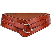 Women Leather Belt Hook Designed Buckle Wide Waist Belt Elastic Stretch Waist Band