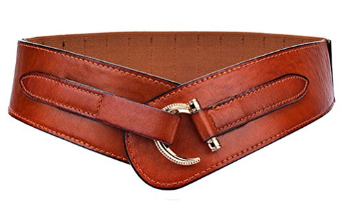 Women Leather Belt Fashion Hook Designed Buckle Wide Waist Belt Chic Elastic Stretch Waist Band (brown) Band Leather Belt Buckle