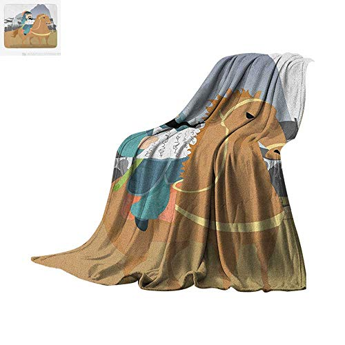 """Luoiaax Chinese Warm Microfiber All Season Blanket Far Eastern History Theme Military General Leading His Army Antiquity War Scenery Summer Quilt Comforter 60""""x36"""" Multicolor"""