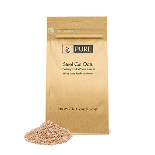 Steel Cut Oats (7 lbs.) by Pure Organic Ingredients, also called Irish Oatmeal, Eco-Friendly Packaging, for Everything From Quick Breakfasts to Face Masks And More!