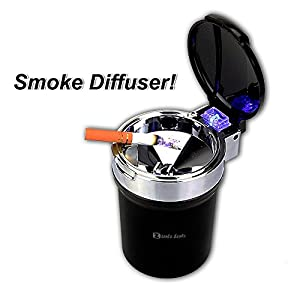 Zento Deals Ash Tray Auto Cigarette Odor Remover and Smoke Diffuser with Blue LED Cool Light Indicator