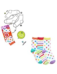 Set of 3 White Zany Ankle Socks, size 4-9