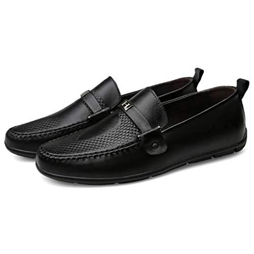 ons zapatos Conducción mocasines Confort Y Negro Negro primavera De azul Hombres Negocios Cuero Yaxuan Zapatos Otoño zapatos Marrón E Para Invierno Formales Slip TaqwOZ4