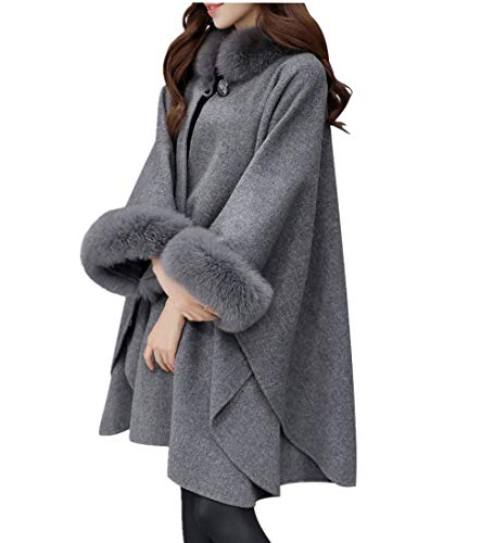 Innifer Women Winter Oversized Faux Fox Fur Collar Cashmere Poncho Capes Outwear Cloak Coat Gray