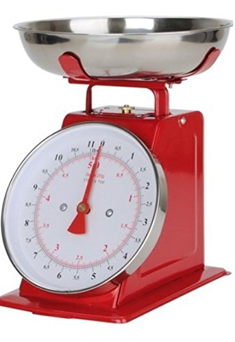All Metal Kitchen Scale Manual 22-lbs 10-Kilo Balanza De Cocina Stainless Steel Red
