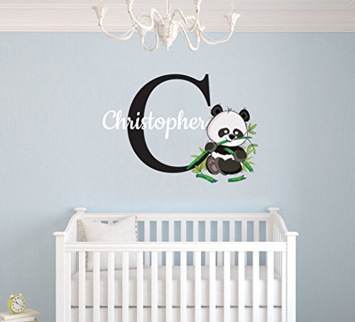 Custom Name & Initial Panda Bear Animal Series - Baby Gir/Boy - Nursery Wall Decal For Baby Room Decorations - Mural Wall Decal Sticker For Home Children's Bedroom (MM133) (Wide 32