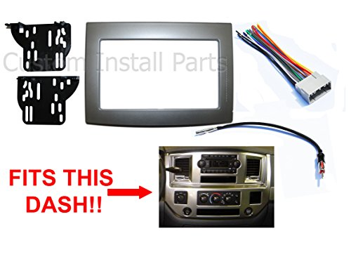 - Silver Double Din Dash Install Kit w/Wiring Harness Radio Stereo Fits Dodge Ram