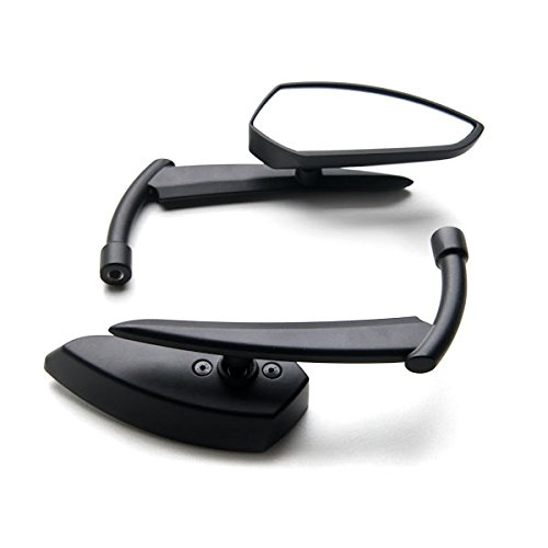 Krator Custom Rear View Mirrors Black Pair w/Adapters For Yamaha Road Star Warrior Midnight XV