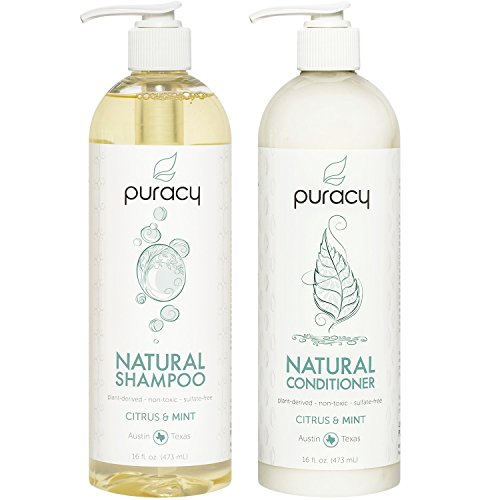 Puracy Natural Shampoo and Conditioner Set, Vegan Hair Care, No Harsh Chemicals, 16 Ounce, (2-Pack) ()