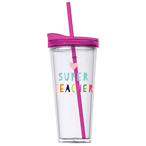 Teacher Gift - SUPER TEACHER - 22 oz Tumbler with Lid and Straw - Perfect Teacher Appreciation Gift or End Of Year Teacher Gift
