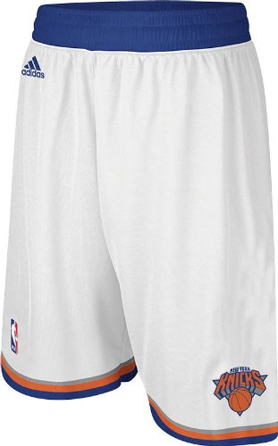 adidas New York Knicks White Embroidered Swingman Shorts By (Medium)