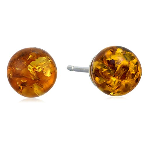 Honey Amber and Sterling Silver Small Stud Ball Earrings, 8mm Amber Stud Earrings