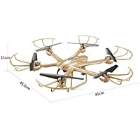 MJX X601H 2.4G 4CH 4 Channel RC Drone Hexacopter 6 Axis Gyro with HD Camera WIFI APP Real-Time Control Hold One Key Return Headless Helicopter RTF Gold