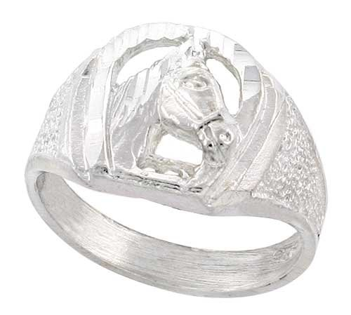 Sterling Silver Small Horse Shoe Ring w/ Horse Head Diamond Cut Finish 1/2 inch wide, size 8.5 (Head Silver Jewelry Sterling)