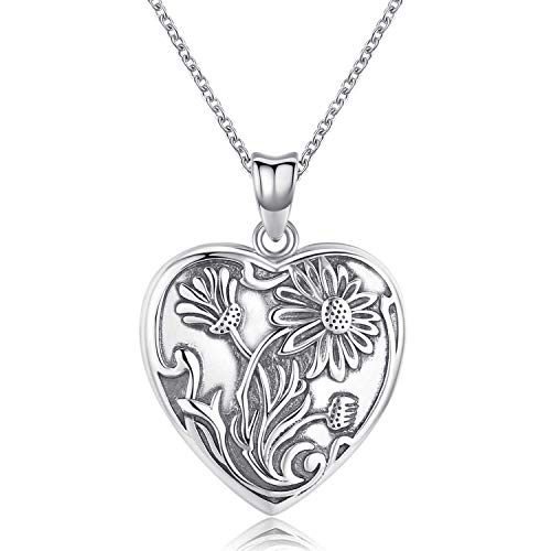 TANGPOET Locket Necklace That Holds Pictures Sun Flower 925 Sterling Silver Photo Heart Lockets Necklace for Women.