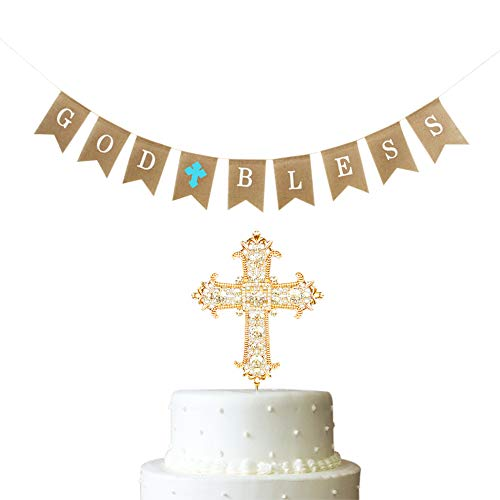2 PCS Baptism Gifts for Boys Decoration God Bless First Communion Burlap Banner Party Supplier Blue Cross Christening Celebration Cake Topper Golden