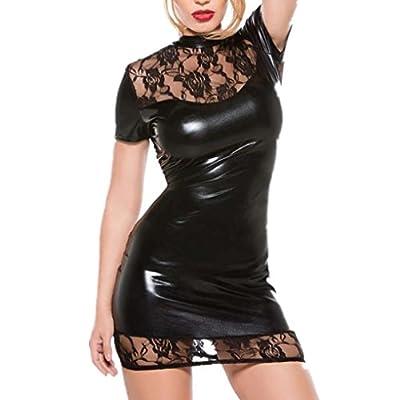 JUNkE Sexy Patent leather Lace Lingerie Elastic Free Size Mini Dress Clubwear
