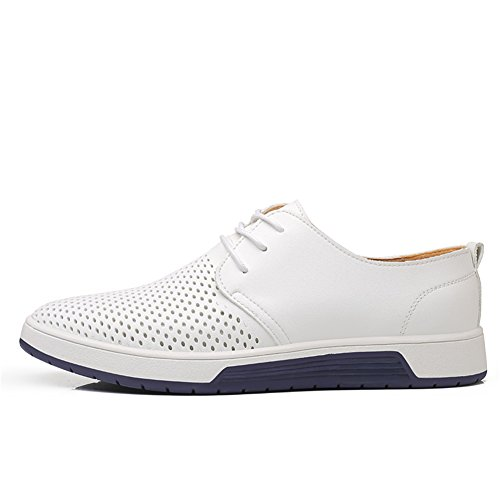 KONHILL Men's Casual Oxford Shoes Breathable Flat Fashion Lace-up Dress Shoes, White, 45 by KONHILL (Image #2)